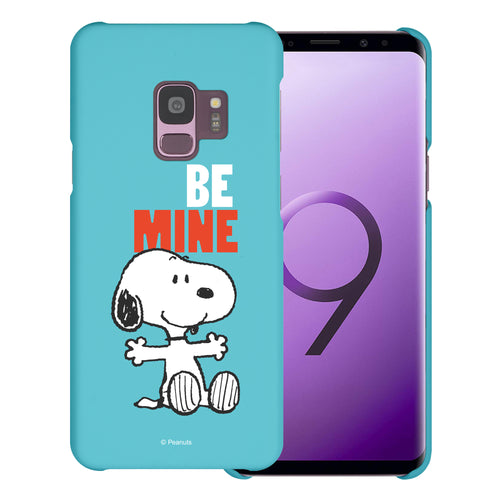 Galaxy S9 Case (5.8inch) [Slim Fit] PEANUTS Thin Hard Matte Surface Excellent Grip Cover - Snoopy Be Mine Cyan