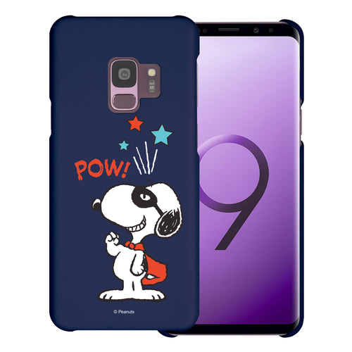 Galaxy S9 Case (5.8inch) [Slim Fit] PEANUTS Thin Hard Matte Surface Excellent Grip Cover - Snoopy Pow Navy