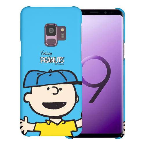 Galaxy S9 Case (5.8inch) [Slim Fit] PEANUTS Thin Hard Matte Surface Excellent Grip Cover - Face Charlie Brown