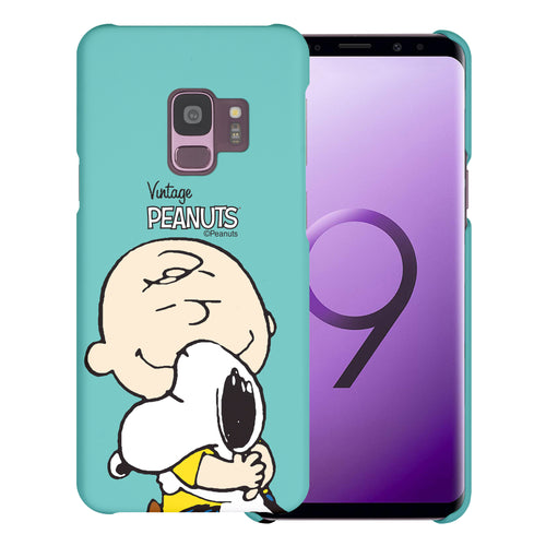 Galaxy S9 Case (5.8inch) [Slim Fit] PEANUTS Thin Hard Matte Surface Excellent Grip Cover - Face Charlie & Snoopy