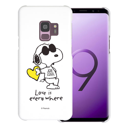 Galaxy S9 Case (5.8inch) [Slim Fit] PEANUTS Thin Hard Matte Surface Excellent Grip Cover - Snoopy Love Yellow