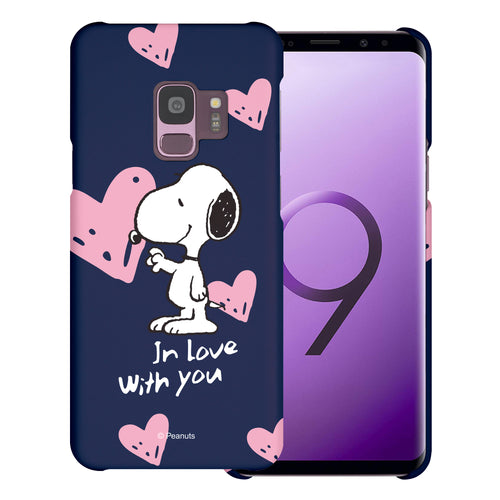 Galaxy S9 Case (5.8inch) [Slim Fit] PEANUTS Thin Hard Matte Surface Excellent Grip Cover - Snoopy In Love Navy