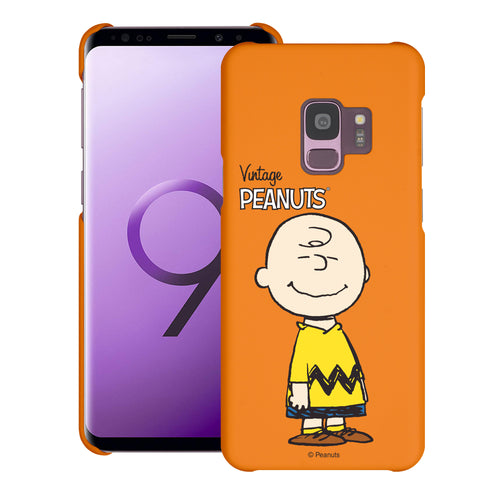 Galaxy S9 Case (5.8inch) [Slim Fit] PEANUTS Thin Hard Matte Surface Excellent Grip Cover - Simple Charlie Brown