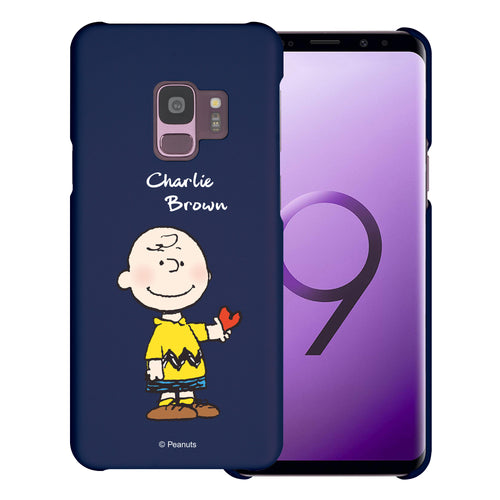 Galaxy S9 Case (5.8inch) [Slim Fit] PEANUTS Thin Hard Matte Surface Excellent Grip Cover - Charlie Brown Stand Navy