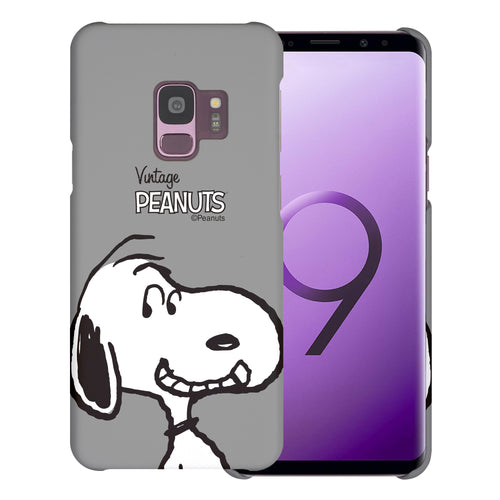 Galaxy S9 Case (5.8inch) [Slim Fit] PEANUTS Thin Hard Matte Surface Excellent Grip Cover - Face Snoopy