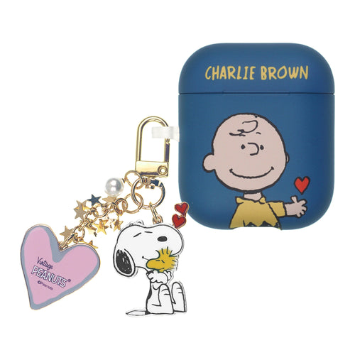 Peanuts AirPods Case Snoopy Key Ring Keychain Key Holder Hard PC Shell Strap Hole Cover - Heart Charlie Brown