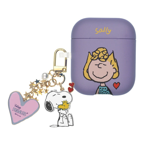 Peanuts AirPods Case Snoopy Key Ring Keychain Key Holder Hard PC Shell Strap Hole Cover - Heart Sally