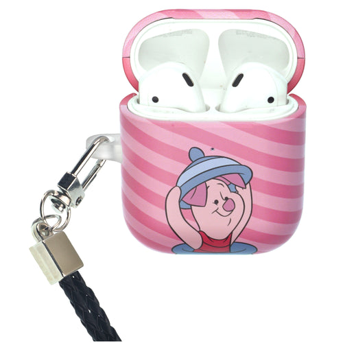 Disney AirPods Case Neck Lanyard Protective Hard PC Shell Strap Hole Cover - Hide Piglet