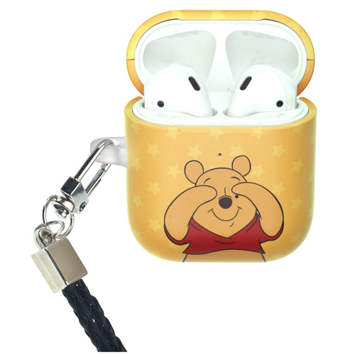 Disney AirPods Case Neck Lanyard Protective Hard PC Shell Strap Hole Cover - Hide Pooh