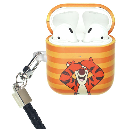 Disney AirPods Case Neck Lanyard Protective Hard PC Shell Strap Hole Cover - Hide Tigger
