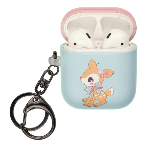 Sanrio AirPods Case Key Ring Keychain Key Holder Hard PC Shell Strap Hole Cover [Front LED Visible] - Hummingmint