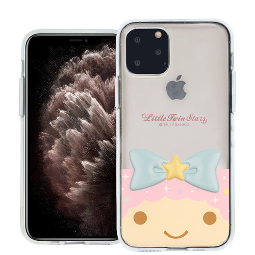 iPhone 11 Case (6.1inch) Little Twin Stars Girl Face Cute Bow Ribbon Clear Jelly Cover - Face Little Twin Stars Lala