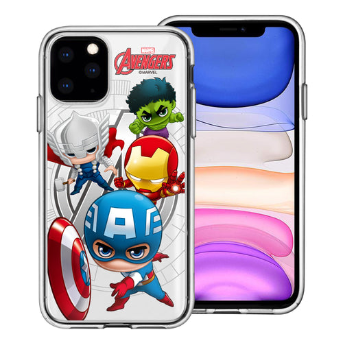 iPhone 11 Case (6.1inch) Marvel Avengers Soft Jelly TPU Cover - Mini Avengers