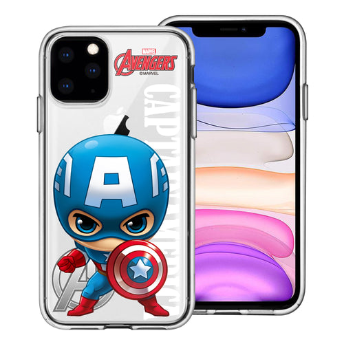 iPhone 11 Case (6.1inch) Marvel Avengers Soft Jelly TPU Cover - Mini Captain America