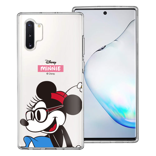 Galaxy Note10 Plus Case (6.8inch) Disney Clear TPU Cute Soft Jelly Cover - Glasses Minnie Mouse