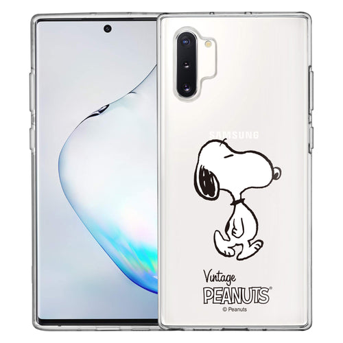 Galaxy Note10 Plus Case (6.8inch) PEANUTS Clear TPU Cute Soft Jelly Cover - Vivid Snoopy Walking