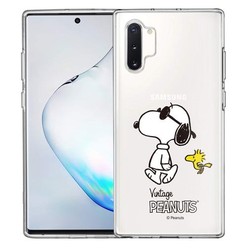 Galaxy Note10 Plus Case (6.8inch) PEANUTS Clear TPU Cute Soft Jelly Cover - Vivid Snoopy Woodstock