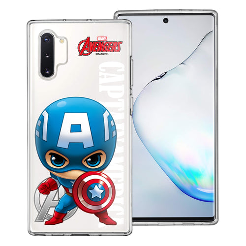 Galaxy Note10 Plus Case (6.8inch) Marvel Avengers Soft Jelly TPU Cover - Mini Captain America