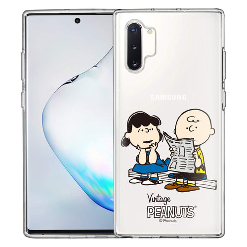 Galaxy Note10 Plus Case (6.8inch) PEANUTS Clear TPU Cute Soft Jelly Cover - Vivid Charlie Brown Lucy