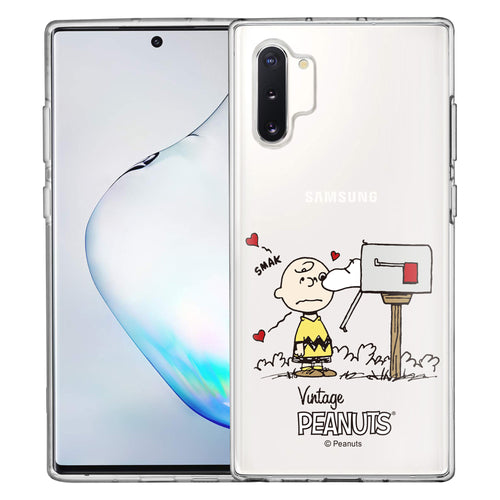 Galaxy Note10 Plus Case (6.8inch) PEANUTS Clear TPU Cute Soft Jelly Cover - Smack Charlie Brown Mailbox