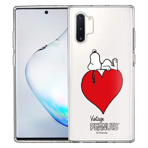Galaxy Note10 Plus Case (6.8inch) PEANUTS Clear TPU Cute Soft Jelly Cover - Smack Snoopy Heart