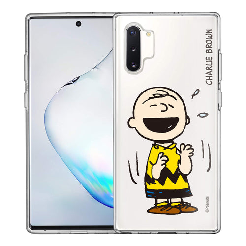 Galaxy Note10 Plus Case (6.8inch) PEANUTS Clear TPU Cute Soft Jelly Cover - Smile Charlie Brown