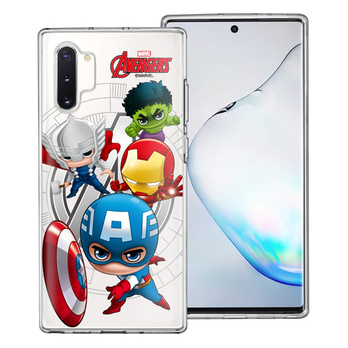 Galaxy Note10 Plus Case (6.8inch) Marvel Avengers Soft Jelly TPU Cover - Mini Avengers
