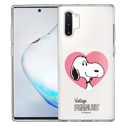 Galaxy Note10 Plus Case (6.8inch) PEANUTS Clear TPU Cute Soft Jelly Cover - Vivid Snoopy Heart