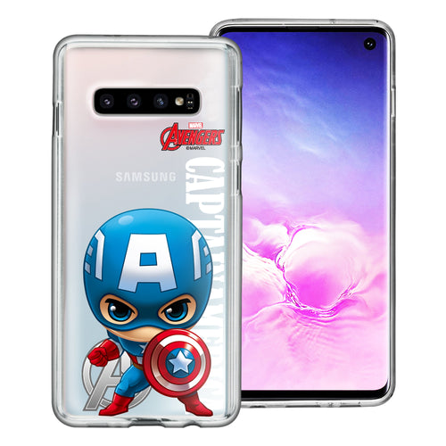 Galaxy S10 Plus Case (6.4inch) Marvel Avengers Soft Jelly TPU Cover - Mini Captain America
