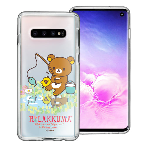 Galaxy S10e Case (5.8inch) Rilakkuma Clear TPU Cute Soft Jelly Cover - Rilakkuma Fishing