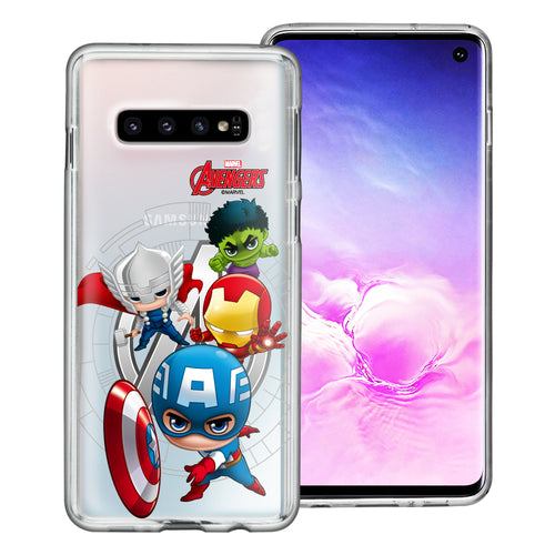 Galaxy S10 Plus Case (6.4inch) Marvel Avengers Soft Jelly TPU Cover - Mini Avengers