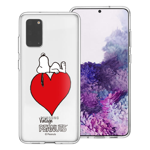 Galaxy S20 Ultra Case (6.9inch) PEANUTS Clear TPU Cute Soft Jelly Cover - Smack Snoopy Heart