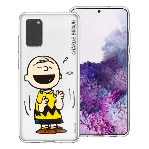 Galaxy S20 Ultra Case (6.9inch) PEANUTS Clear TPU Cute Soft Jelly Cover - Smile Charlie Brown