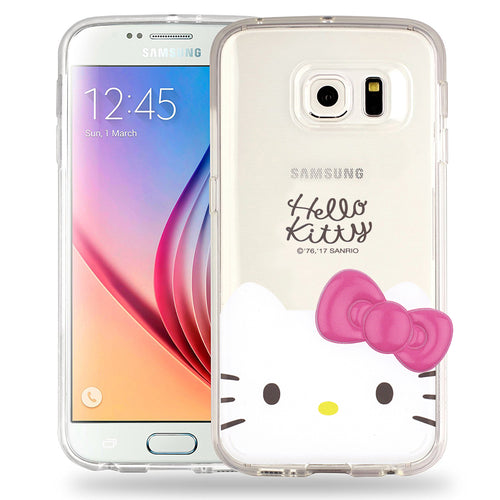 Galaxy S6 Edge Case Hello Kitty Face Cute Bow Ribbon Clear Jelly Cover - Face Hello Kitty
