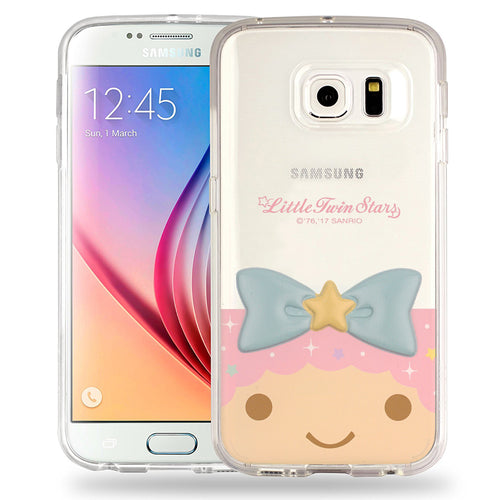 Galaxy S6 Case (5.1inch) Little Twin Stars Girl Face Cute Bow Ribbon Clear Jelly Cover - Face Little Twin Stars Lala