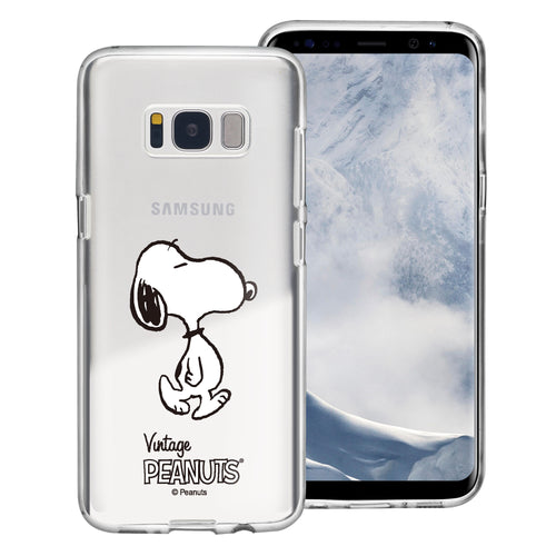 Galaxy S8 Case (5.8inch) PEANUTS Clear TPU Cute Soft Jelly Cover - Vivid Snoopy Walking