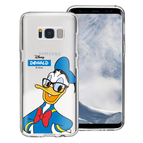 Galaxy S8 Case (5.8inch) Disney Clear TPU Cute Soft Jelly Cover - Glasses Donald Duck