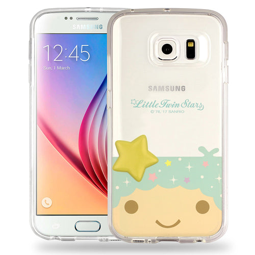 Galaxy S6 Case (5.1inch) Little Twin Stars Boy Face Cute Star Clear Jelly Cover - Face Little Twin Stars Kiki