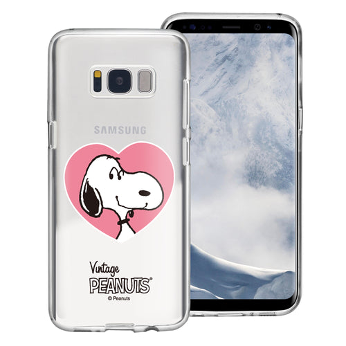 Galaxy S8 Plus Case PEANUTS Clear TPU Cute Soft Jelly Cover - Vivid Snoopy Heart