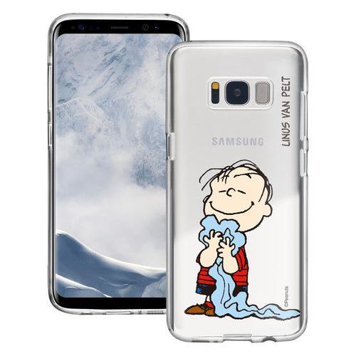 Galaxy S8 Case (5.8inch) PEANUTS Clear TPU Cute Soft Jelly Cover - Smile Linus