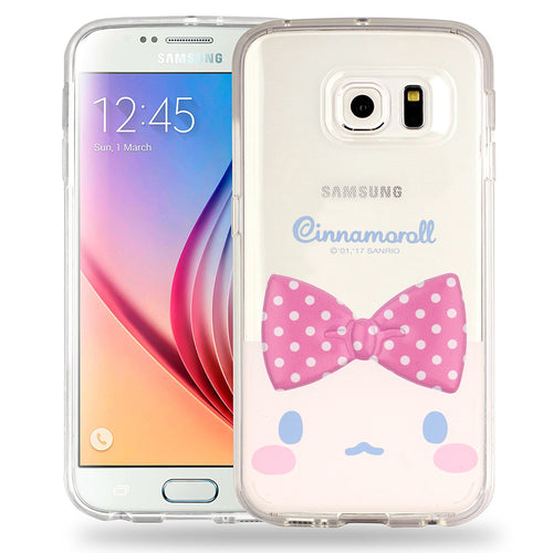 Galaxy S6 Edge Case Cinnamoroll Face Cute Bow Ribbon Clear Jelly Cover - Face Cinnamoroll
