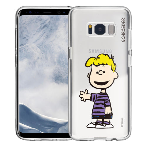 Galaxy S8 Case (5.8inch) PEANUTS Clear TPU Cute Soft Jelly Cover - Smile Schroeder