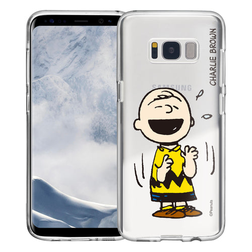 Galaxy S8 Plus Case PEANUTS Clear TPU Cute Soft Jelly Cover - Smile Charlie Brown