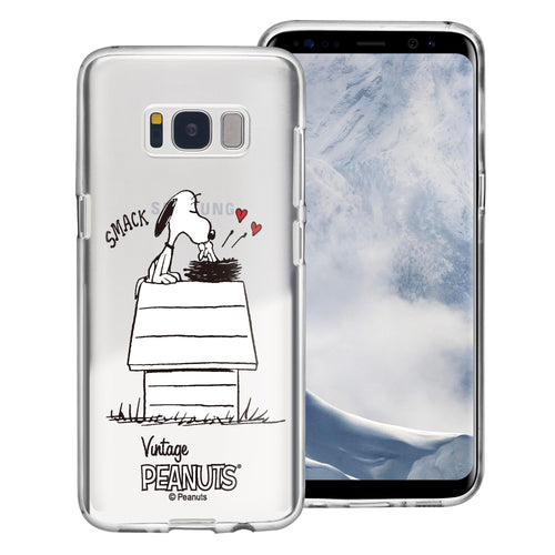 Galaxy S8 Case (5.8inch) PEANUTS Clear TPU Cute Soft Jelly Cover - Smack Snoopy Birds