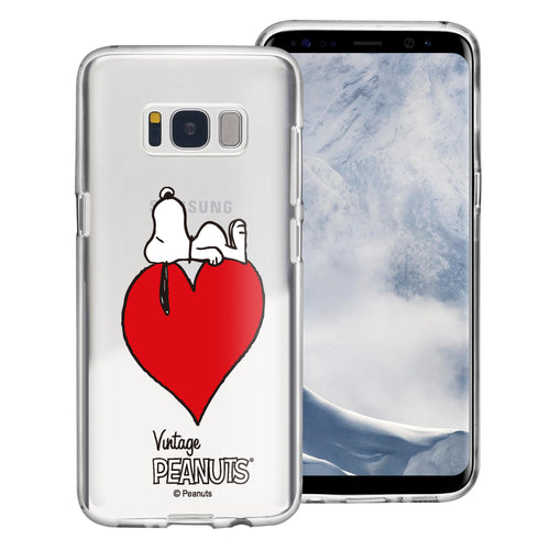 Galaxy S8 Case (5.8inch) PEANUTS Clear TPU Cute Soft Jelly Cover - Smack Snoopy Heart