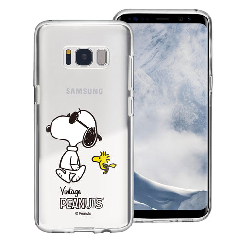 Galaxy S8 Case (5.8inch) PEANUTS Clear TPU Cute Soft Jelly Cover - Vivid Snoopy Woodstock