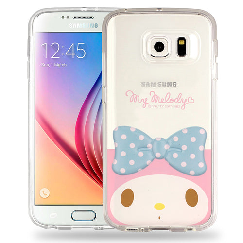 Galaxy S6 Edge Case My Melody Face Cute Bow Ribbon Clear Jelly Cover - Face My Melody