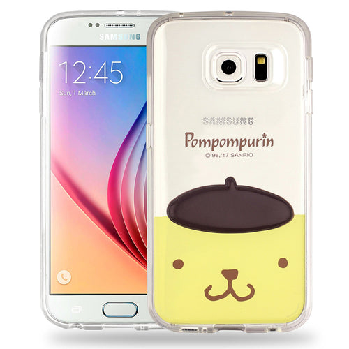 Galaxy S6 Edge Case Pompompurin Face Cute Hat Clear Jelly Cover - Face Pompompurin