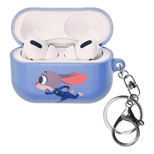 Disney AirPods Pro Case Key Ring Keychain Key Holder Hard PC Shell Strap Hole Cover - Zootopia Judy