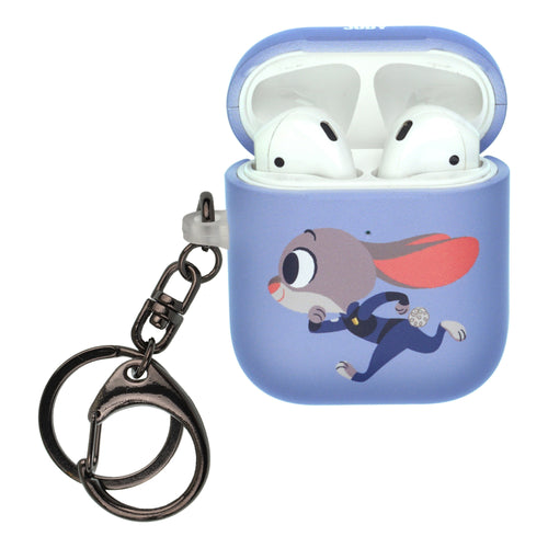 Disney AirPods Case Key Ring Keychain Key Holder Hard PC Shell Strap Hole Cover [Front LED Visible] - Zootopia Judy